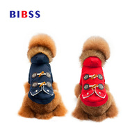 Winter Dog Cotton Padded Thickening Clothes Horn Buttons Pet Dogs Coats Jackets Warm Costume For Small