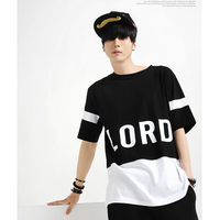2018 Teenage personalized short sleeve T shirt male novelty hiphop casual black and white color block decoration top loos