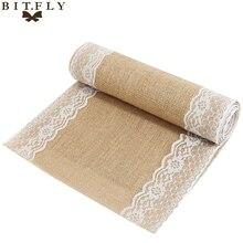 30x275cm encaje de arpillera vintage corredor de mesa de arpillera Yute natural caminos de mesa tela para decoración de la boda de la fiesta del país