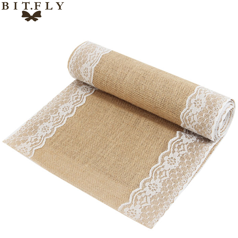 30x275cm Vintage Burlap Lace Hessian Table Runner Natural Jute Table Runners Cloth For Country Party Wedding Decoration