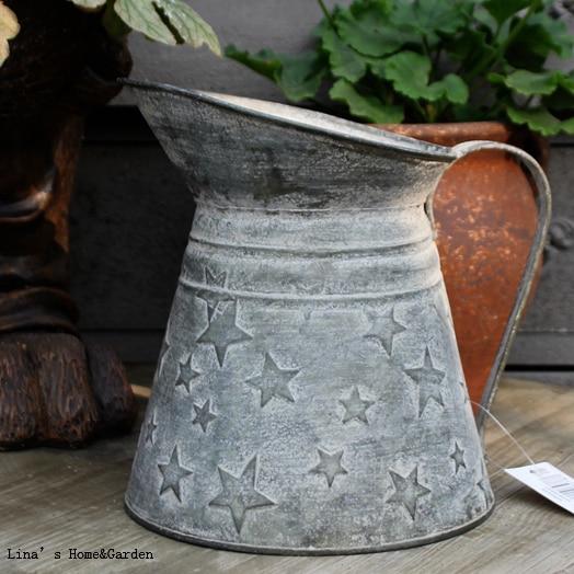 Gray Metal Vintage Style Decorative Jug Vase Flowers Shabby Vintage
