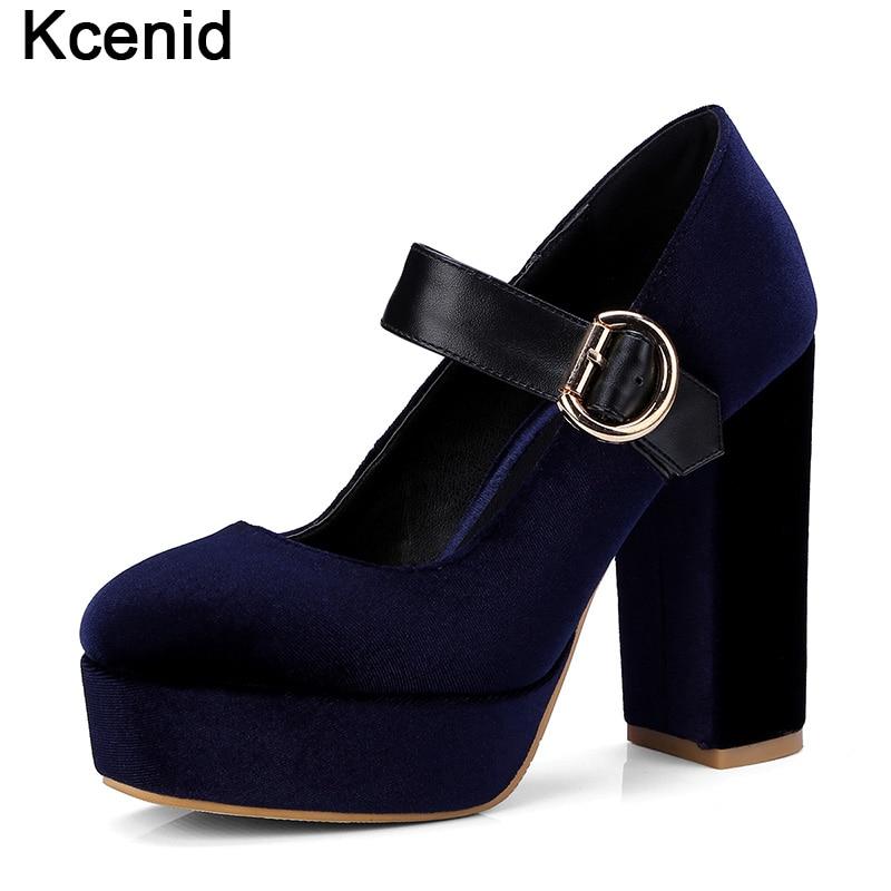 Kcenid 2018 новая мода бархат Коренастый Обувь на высоком каблуке и  платформе женские туфли-лодочки e079b52c34b7e