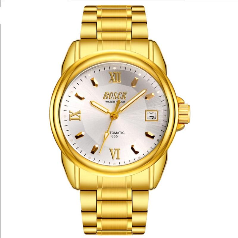 Nouvelle montre d'affaires pour homme en acier inoxydable de luxe avec bracelet, style classique.