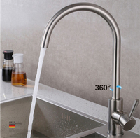 Total 304 Stainless Steel No Lead Safe Single Lever Nickel Finished Hot And Cold Kitchen Sink