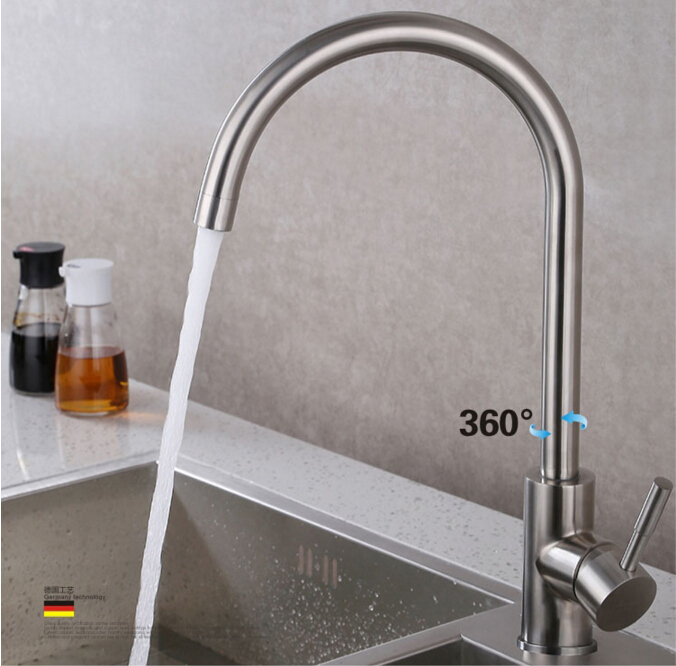 total 304 stainless steel no lead safe single lever nickel finished hot and cold kitchen sink faucet,mixer tap kitchen sink faucet single lever hot and cold torneira nano stainless steel modern faucet 720dergree swivel mixer sink water tap