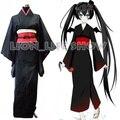 Japanese Anime Miku Furisode Tradicional Mujeres Negro Kimono Cosplay Costume Set