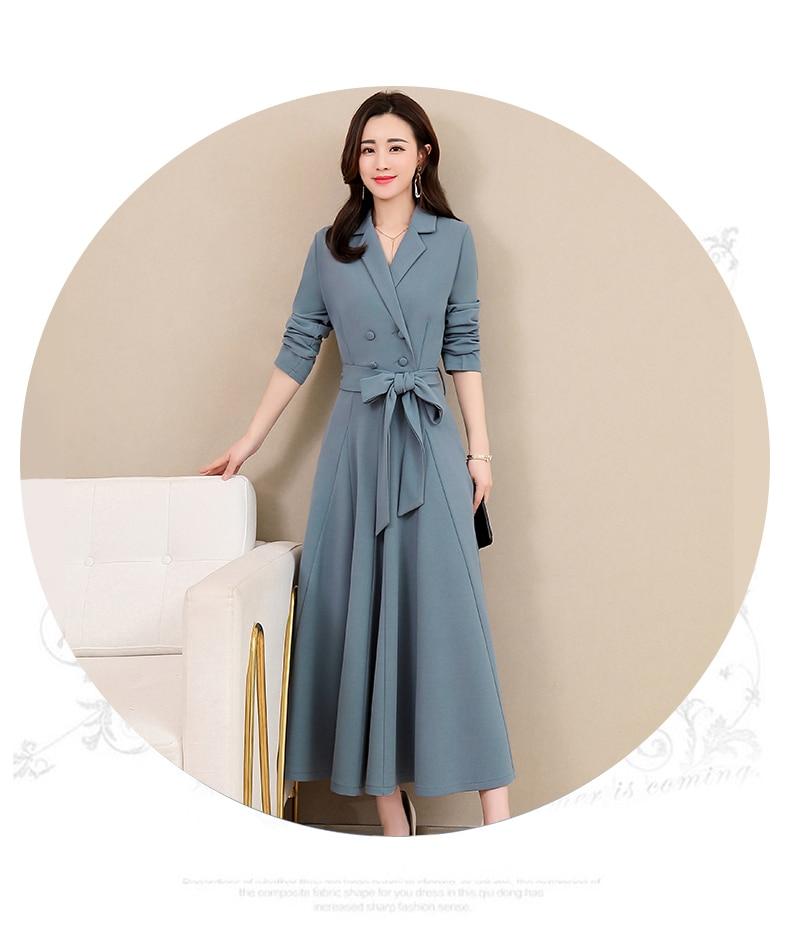 Spring and Autumn 2019 New Women's Dresses Korean Edition Long Sleeve Dresses Overlap Long Popular Temperament with Bottom 124