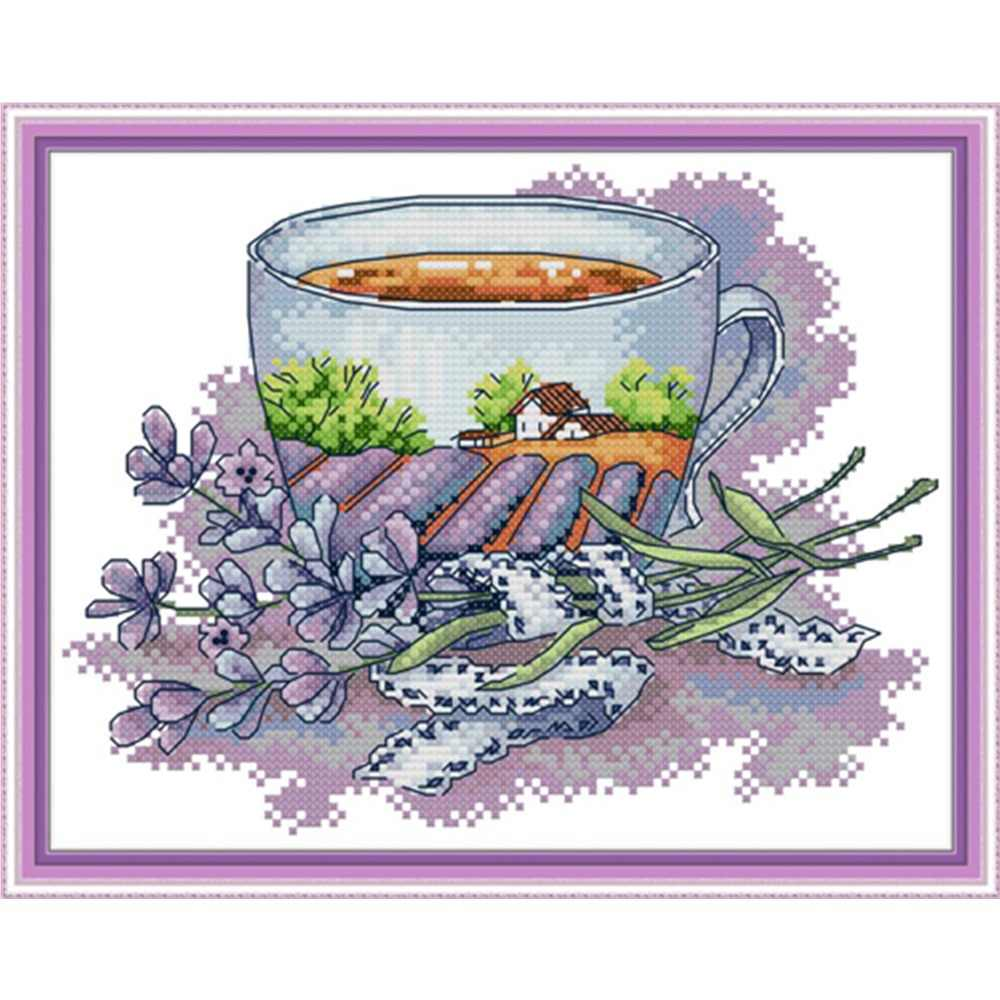 Teacup series cross stitch kit aida 14ct 11ct count print canvas stitches embroidery DIY handmade needl