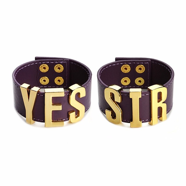 Hot Suicide Squad Yes Sir Letter Bracelets Purple Harley Quinn Leather Prop Wristband Bracelet for Halloween Cosplay Accessories