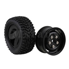 Mxfans 4 x Plastic Wheel Rim & Beard Pattern Rubber Tyre for RC1:10 On Road Car