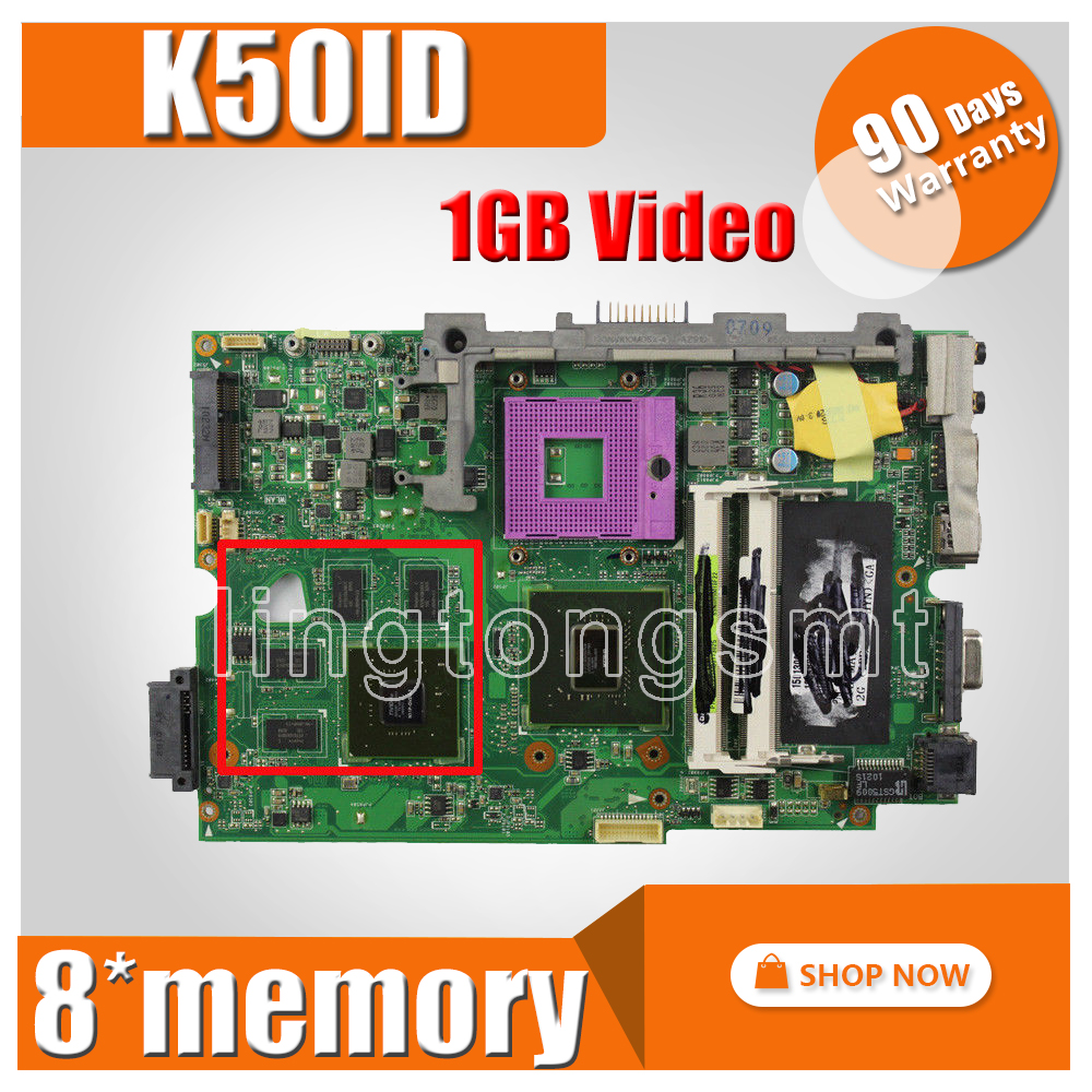 K50ID Motherboard 1GB 8 Memory For ASUS K50I K50ID K40ID X50DI K50IE X5DI Laptop motherboard K50ID Mainboard K50ID Motherboard k50id 1gb 8 memory motherboard for asus x5di k50ie k50i k50id laptop mainboard rev 3 2 ddr3 100