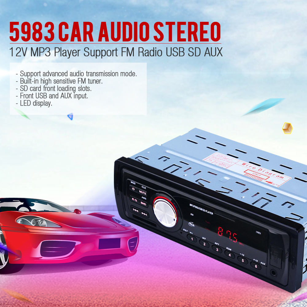 font b Car b font Radio Stereo Player AUX IN MP3 FM USB 1 Din