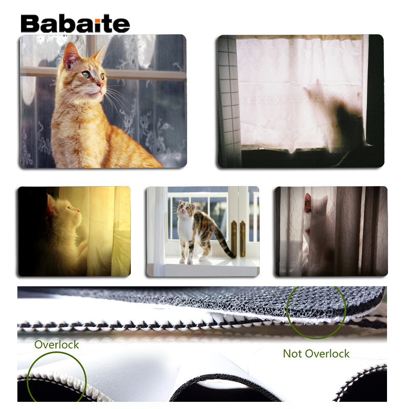 Babaite Vintage Cool on the windowsill mouse pad gamer play mats Size for 18x22cm 25x29cm Rubber Mousemats