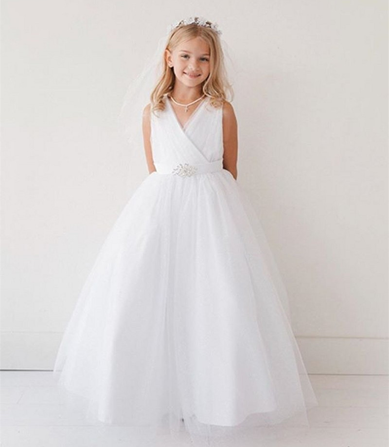 New White V Neck Flower Girls Dresses Ankle Length with Beaded Sash Any Size бра ideal lux sheraton ap2 marrone