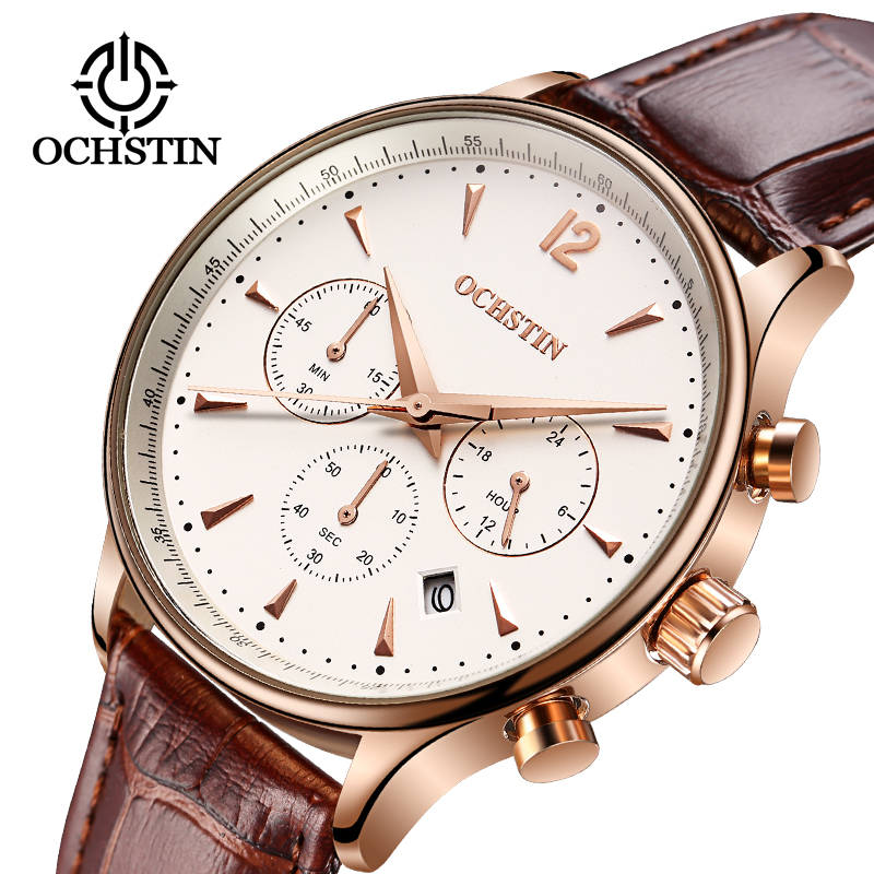 2018 Mens Mens Watches Top Brand Luxury Waterproof Chronograph Watch Man Leather Sport Quartz Watches Men Men Jam Lelaki