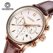 Montre daffaires pour hommes, montre bracelet de luxe, étanche, chronographe, en cuir, à Quartz, Sport, 2019