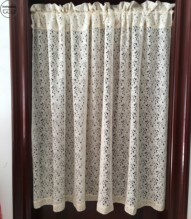 xinhuaease beige lace short curtain on kitchen windows sheer door curtains cafe tulle small