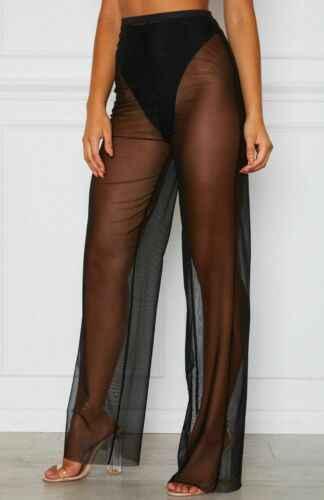 Frauen Sommer Strand Mesh Sheer Sehen Durch Hosen Vogue Hohe Taille Transparent Breiten Bein Hosen Clubwear Urlaub Strand Hosen