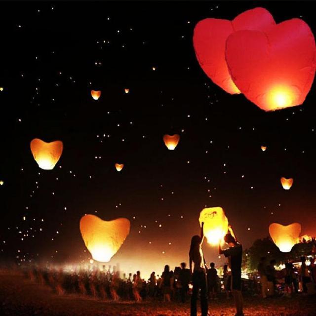 Hot Flying Wishing Lamp Hot Air Balloon Kongming Lantern Love Heart Sky Lantern Party Favors For Birthday Party random color