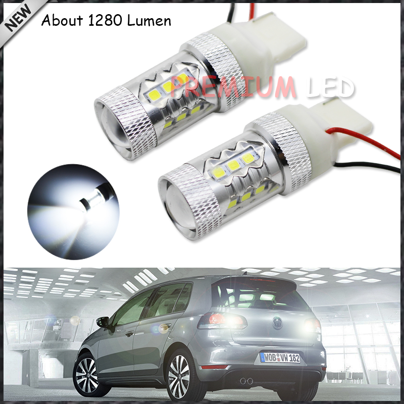 2pcs New Style 100% Error Free 15-SMD 7440 W21W T20 LED Backup Reverse Light Bulbs For 2010-2013 Volkswagen MK6 Golf or GTi 2 x error free super bright white led bulbs for backup reverse light 921 912 t15 w16w for peugeot 408