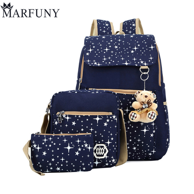 Fashion Composite Bag Preppy Style Backpacks For Teenage Girls High Quality Canvas School Bags Cute Bear 3 Set Backpack Female ciker new preppy style 4pcs set women printing canvas backpacks high quality school bags mochila rucksack fashion travel bags