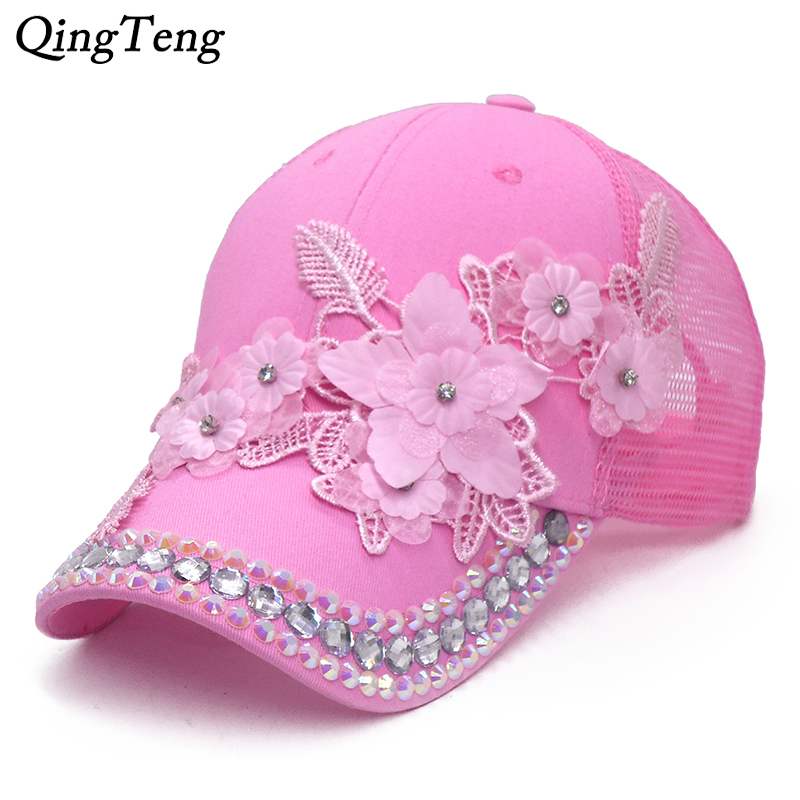 3D Flower Women Ponytail   Baseball     Cap   Summer Messy Bun   Cap   For Girls Bling Rhinestone Visor Sun Hats Breathable Mesh Trucker Hat