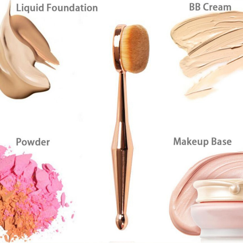 1PCS Makeup Brush Toothbrush Makeup Brush Foundation Powder Rose Gold Oval Brushes One Set Pincel Maquiagem image