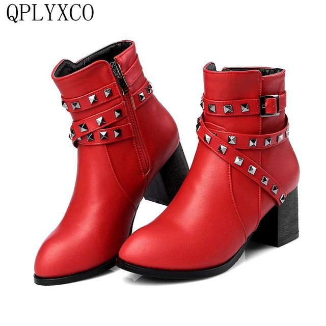 3f71f66817b QPLYXCO 2017 New Super Big  small Size 30-48 Genuine Leather Boots shoes  Autumn Winter Women s short Boots High Heel 116-6