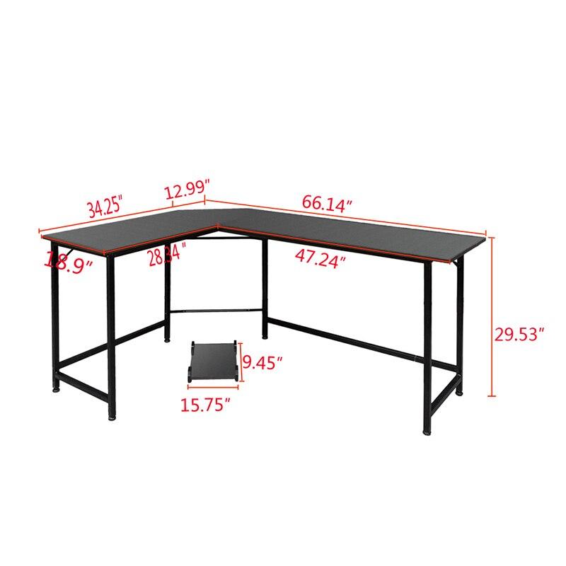 Noir En Forme de L ordinateur de bureau mobilier De Bureau de Bureau - 2