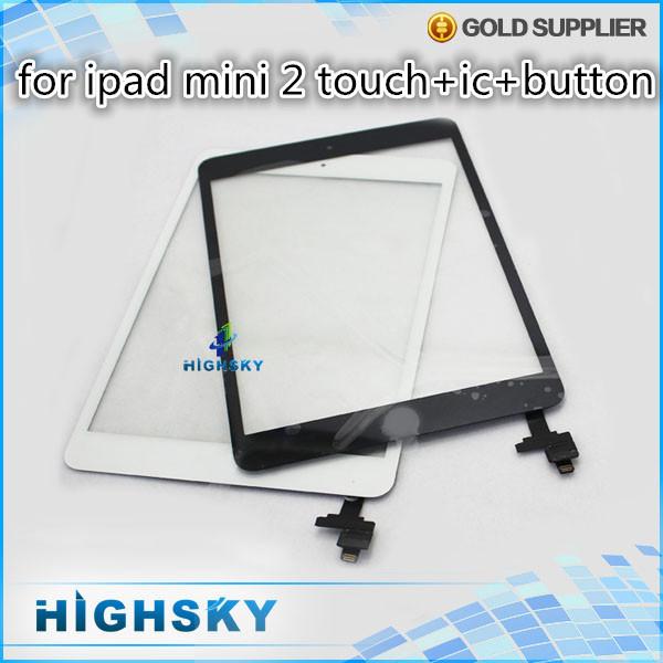 Probado piezas 1 unidades HK envío gratis para el ipad mini 2 touch digitalizador con ic + home button sticker + herramientas para el ipad mini2