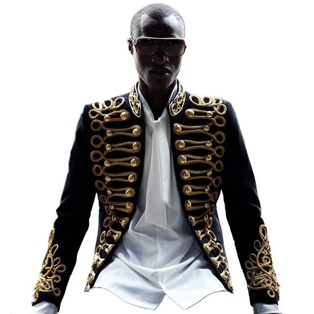 New Luxury Men Blazers Gold Embroider Jacket Slim Fit Blazer Suits Coat Black European Style Dj Male Singer Host Stage Costume
