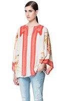 Vintage Voan Floral In Ấn Loose Casual Kimono Shirts Oversized Mở Stitch Coat nữ Thời Trang Đứng Đầu RT15