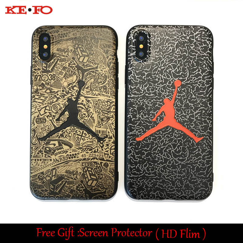 KEFO For Iphone X 10 5S SE 6S 7 8 Plus Jordan Silicone Slim Back Cover NBA Phone Case For Samsung Galaxy S9 S8 Plus + HD Flim