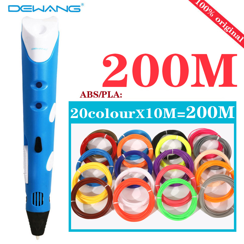 3 d Painting pen multicolored pens 20 colors 100M filament threads ABS PLA 3D pen children birthday gifts DIY drawing tools pen стоимость