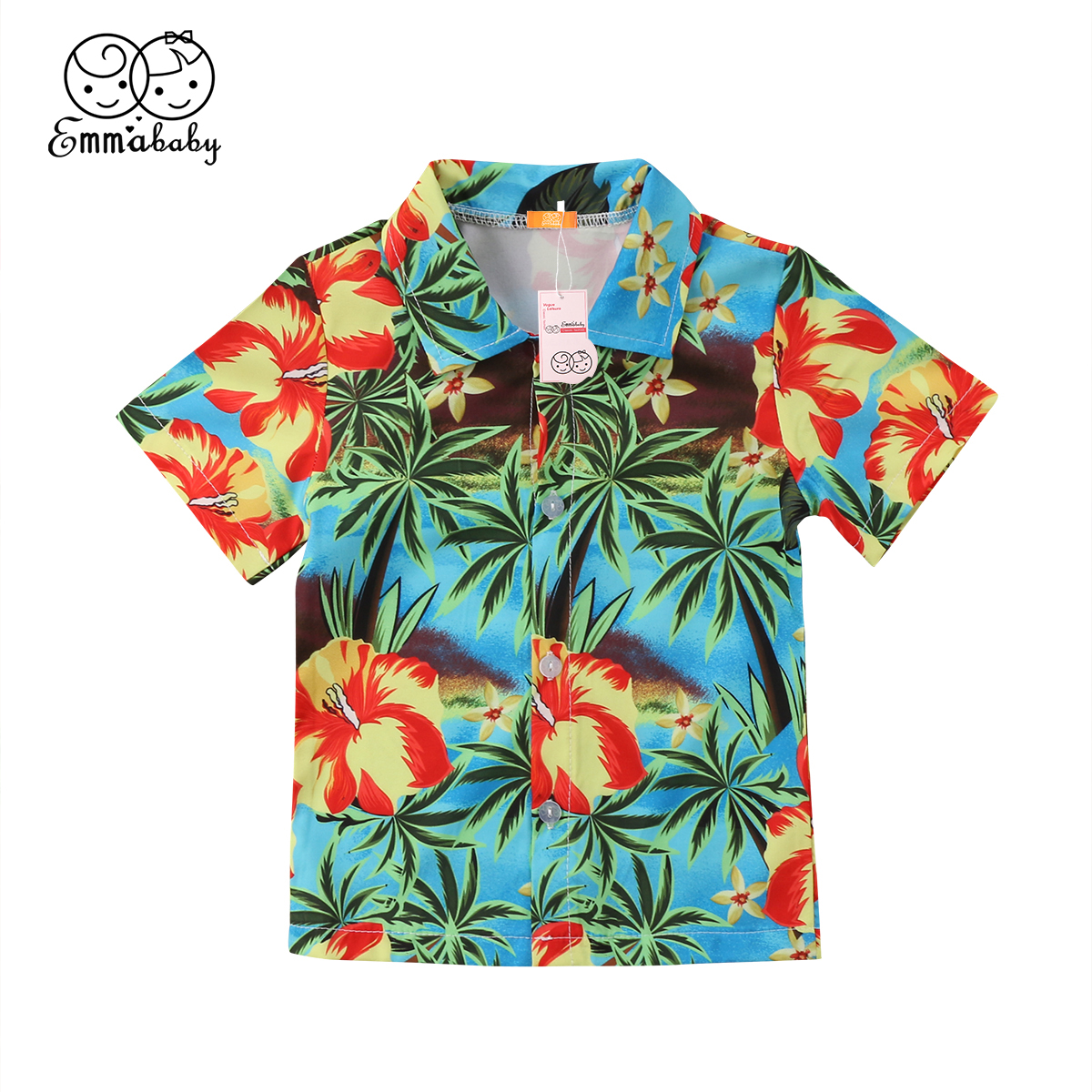 Emmababy Tops Blouse Short-Sleeve T-Shirt Summer Casual Coconut-Tree-Print Newbron