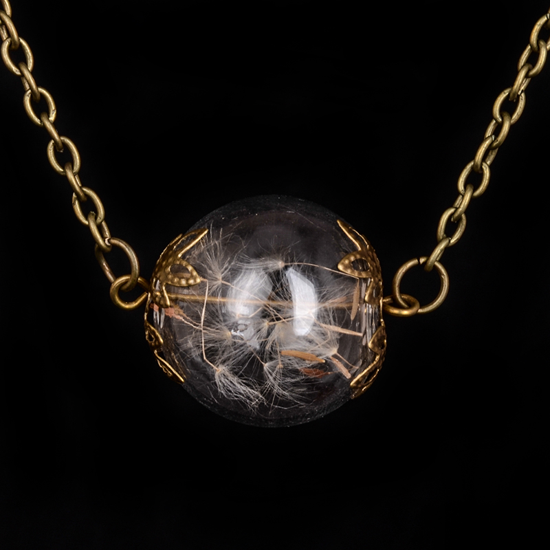 Beautiful Glass ball Vial Necklaces in bronze