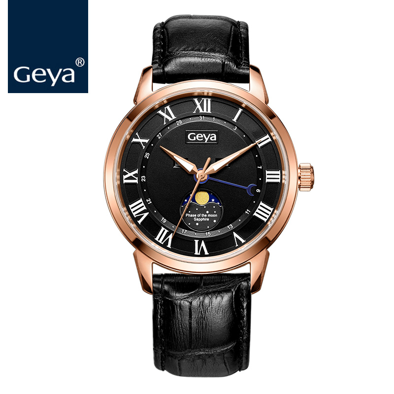 Geya Japanese Miyota 6P80 Men Watch Moon Phase Leather Sapphire Crystal Quartz Man Watch Luxury Brand Water Resistant Male Watch цена и фото