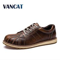 VANCAT Brand New Style Retro Style Men Causal Shoes Sneakers Genuine Leather Men Shoes Outdoor Flats