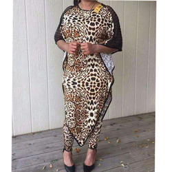 Dashiki Afrikanische Neue Mode Anzug (Kleid und Hosen) fledermaus Ärmel Leopard Korn Sexy Anzug Super Elastische Afrikanische Für Dame (BW01 #)