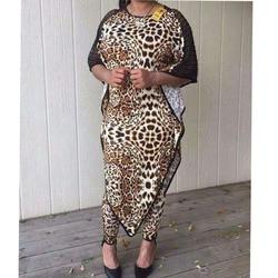Dashiki nuevo traje de Moda Africana (vestido y pantalones) manga murciélago leopardo grano Sexy traje Super elástico africano para dama (BW01 #)