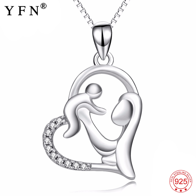 925 Sterling Silver Necklace Mom Hold Child Pendants Necklacs
