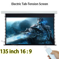 Large Cinema Front Projection Screen 135 Inch 16 9 Projector Screen With Knob Tension 12V Trigger