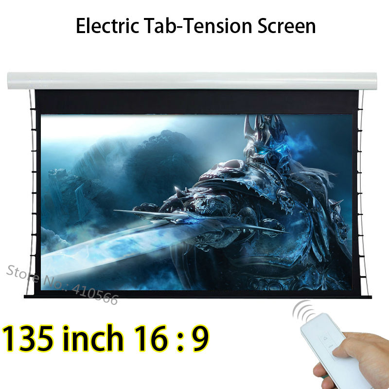 Large Cinema Front Projection Screen 135-inch 16:9 Projector Screen With Knob Tension 12V Trigger full hd 190 inch 16 9 curved fixed frame front projection screen with 1 2 gain 3d cinema projector screens