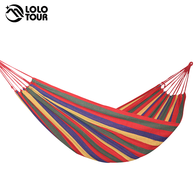 Outdoor Garden Hammock Portable  Hang BED Travel camping sleeping hammock Swing Canvas Stripe 280*100cm single person hammock canvas thicken camping indoor and outdoor travel furniture swing go to bed colorful easy to fold carry