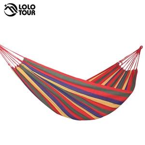 Image 2 - Outdoor Garden Hammock Portable  Hang BED Travel camping sleeping hammock Swing Canvas Stripe 280*100cm