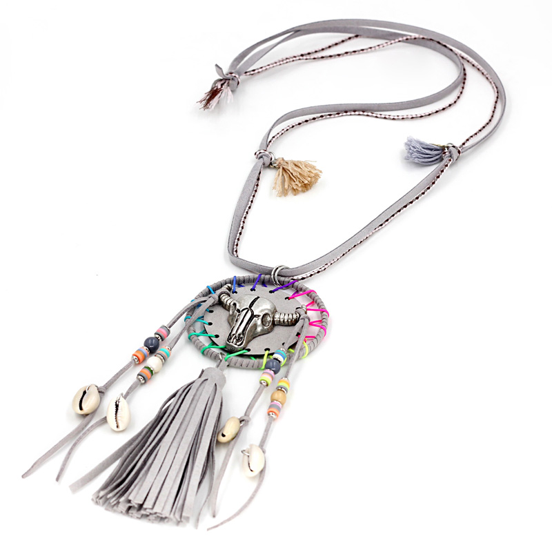 fd10e4b19cf Women Necklaces Handmade Bohemia Jewelry Thread Tassel Long Necklace  Sweater Chain Alloy Cow Head Pendant-in Pendant Necklaces from Jewelry &  Accessories on ...