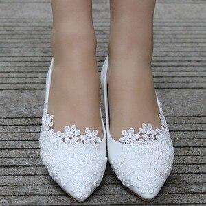Elegante famosa marca feminina moda casual tamanho grande rendas apontou toe casamento sapatos planos dropshipping trouwschoenen|Sapatilhas femininas| |  -