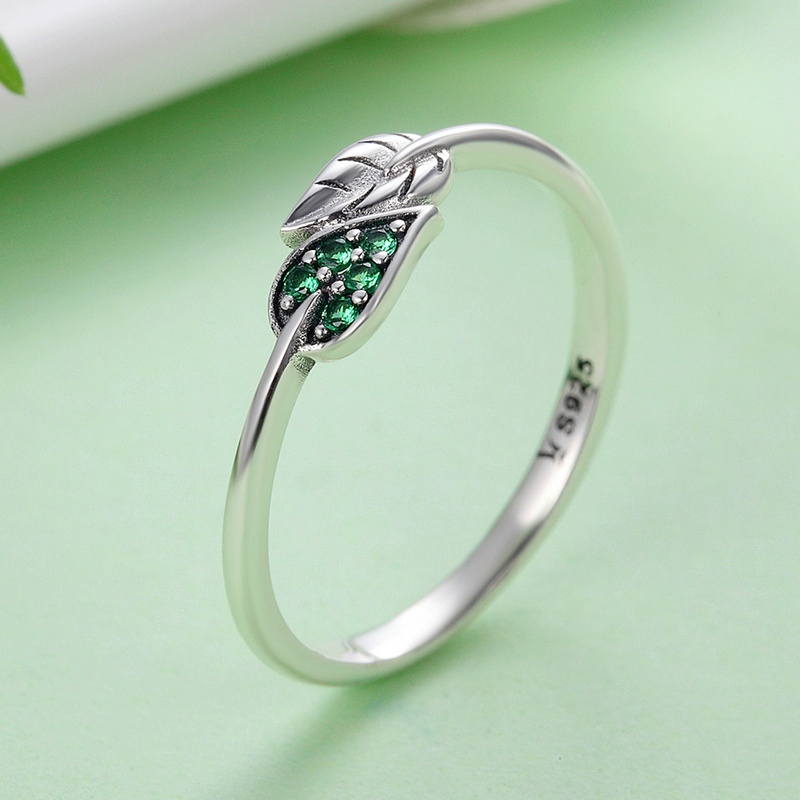 SHIQIER S925 925 Sterling Silver Dancing Leaves Leaf Green Dazzling Zircon Finger Rings for Lady Engagement