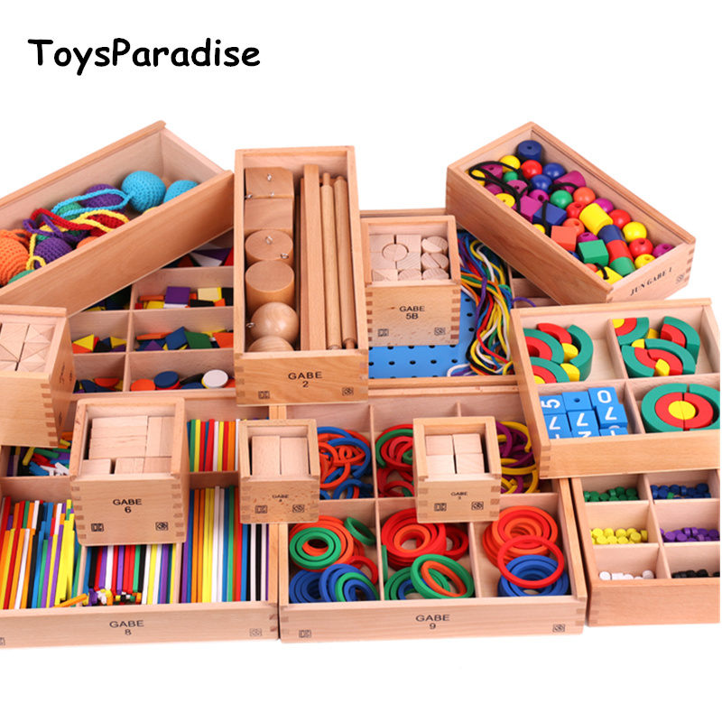 Frobel GABE 15Pcs Montessori Wooden Toys For Kids Learning Educational Toys Blocks Shape Cognitive String Beads Baby Toys Gift