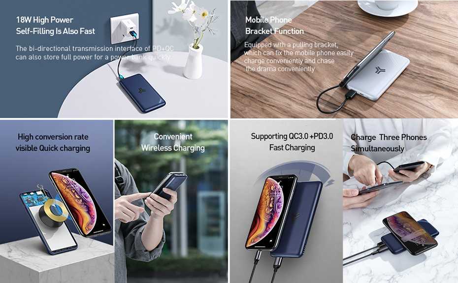 Baseus S10 10000mAh Wireless Fast Charging Power Bank Quick Charge 3.0 PD Portable External Battery